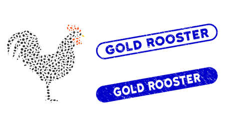 Mosaic cock and corroded stamp seals with Gold Rooster text. Mosaic vector cock is formed with scattered ellipse elements. Gold Rooster stamp seals use blue color, and have round rectangle shape.