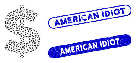 Mosaic American Dollar and corroded stamp seals with American Idiot phrase. Mosaic vector American Dollar is created with randomized oval items. American Idiot stamp seals use blue color,