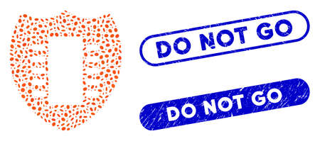 Mosaic digital security and grunge stamp seals with Do Not Go text. Mosaic vector digital security is created with randomized oval items. Do Not Go stamp seals use blue color, Vectores