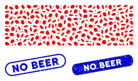 Mosaic remove and corroded stamp seals with No Beer text. Mosaic vector remove is formed with scattered ellipse parts. No Beer stamp seals use blue color, and have round rectangle shape.