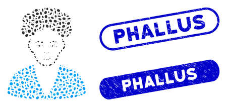 Mosaic brunette boy and rubber stamp seals with Phallus caption. Mosaic vector brunette boy is composed with scattered ellipse parts. Phallus stamp seals use blue color, Vettoriali
