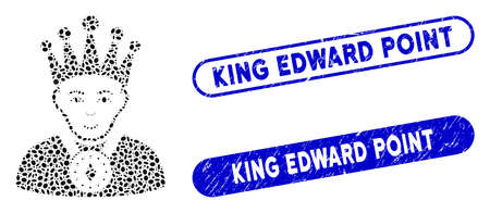 Mosaic king and grunge stamp watermarks with King Edward Point text. Mosaic vector king is formed with randomized oval dots. King Edward Point stamp seals use blue color,