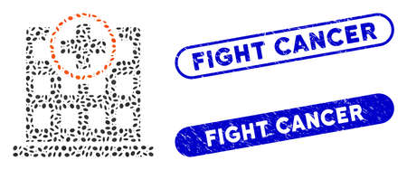 Mosaic clinic building and grunge stamp watermarks with Fight Cancer phrase. Mosaic vector clinic building is composed with randomized ellipse dots. Fight Cancer stamp seals use blue color,