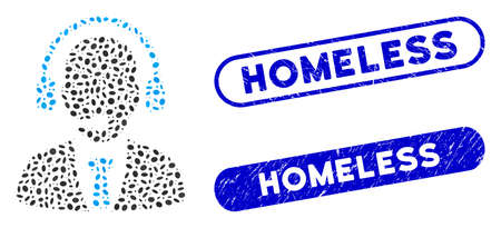 Mosaic call center and distressed stamp seals with Homeless text. Mosaic vector call center is composed with randomized ellipse pieces. Homeless stamp seals use blue color,