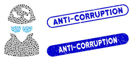 Collage spotted spy and distressed stamp seals with Anti-Corruption phrase. Mosaic vector spotted spy is created with scattered elliptic parts. Anti-Corruption stamp seals use blue color,