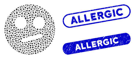 Mosaic indifferent smiley and corroded stamp seals with Allergic phrase. Mosaic vector indifferent smiley is formed with scattered ellipse parts. Allergic stamp seals use blue color,
