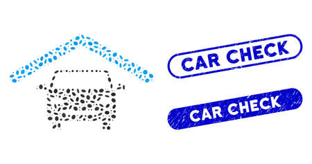 Mosaic car roof and distressed stamp watermarks with Car Check text. Mosaic vector car roof is created with randomized elliptic dots. Car Check stamp seals use blue color,