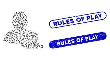 Mosaic user pawns and rubber stamp seals with Rules of Play phrase. Mosaic vector user pawns is created with random elliptic items. Rules of Play stamp seals use blue color, Illusztráció