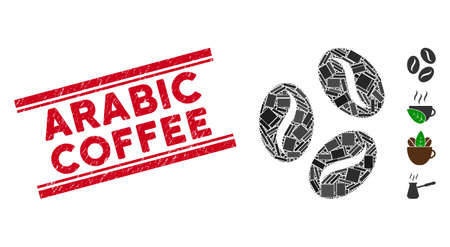 Mosaic coffee beans pictogram and red Arabic Coffee stamp between double parallel lines. Flat vector coffee beans mosaic pictogram of random rotated rectangular items. Çizim