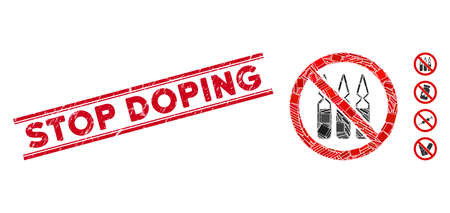 Mosaic no ampoules pictogram and red Stop Doping watermark between double parallel lines. Flat vector no ampoules mosaic pictogram of random rotated rectangular elements.