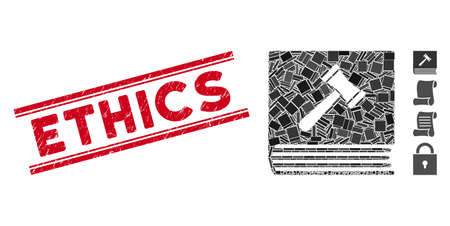 Mosaic code of conduct icon and red Ethics seal between double parallel lines. Flat vector code of conduct mosaic icon of random rotated rectangle items. Red Ethics seal stamp with scratched textures.