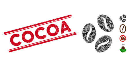 Mosaic cocoa beans pictogram and red Cocoa stamp between double parallel lines. Flat vector cocoa beans mosaic pictogram of scattered rotated rectangle items. Red Cocoa stamp with scratched texture.
