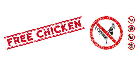 Mosaic no rooster pictogram and red Free Chicken rubber print between double parallel lines. Flat vector no rooster mosaic pictogram of scattered rotated rectangular items. Illustration