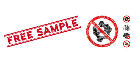Mosaic no microbe pictogram and red Free Sample rubber print between double parallel lines. Flat vector no microbe mosaic pictogram of random rotated rectangle items.