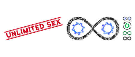 Mosaic perpetuum mobile pictogram and red Unlimited Sex seal stamp between double parallel lines. Flat vector perpetuum mobile mosaic pictogram of randomized rotated rectangular elements.