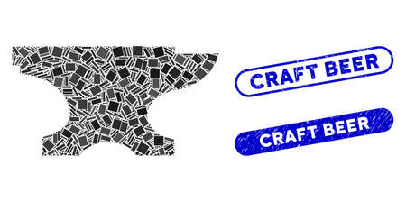 Collage forge icon and red round distressed stamp seal with Craft Beer phrase and coronavirus symbol. Mosaic vector is composed with forge icon and with random round elements. Vecteurs