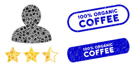 Mosaic person rating icon and red round grunge stamp seal with 100% Organic Coffee caption and coronavirus symbol.