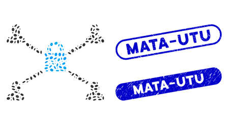 Mosaic secured lock relations and distressed stamp seals with Mata-Utu phrase. Mosaic vector secured lock relations is designed with randomized oval pieces. Mata-Utu stamp seals use blue color,