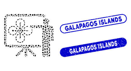 Mosaic copter presentation and corroded stamp seals with Galapagos Islands phrase. Mosaic vector copter presentation is composed with randomized elliptic parts.