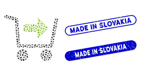 Mosaic purchase cart and rubber stamp seals with Made in Slovakia text. Mosaic vector purchase cart is composed with scattered oval spots. Made in Slovakia stamp seals use blue color,