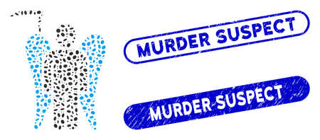 Mosaic scythe death angel and corroded stamp seals with Murder Suspect phrase. Mosaic vector scythe death angel is formed with randomized oval items. Murder Suspect stamp seals use blue color, 일러스트