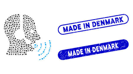 Mosaic operator talking sound waves and distressed stamp seals with Made in Denmark phrase. Mosaic vector operator talking sound waves is formed with random ellipse spots.