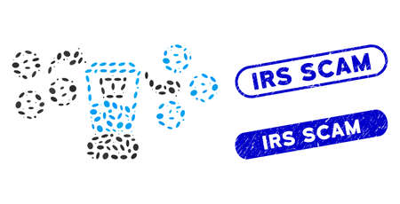 Collage Bitcoin mixing service and corroded stamp seals with Irs Scam caption. Mosaic vector Bitcoin mixing service is formed with scattered ellipse elements. Irs Scam stamp seals use blue color, Ilustrace