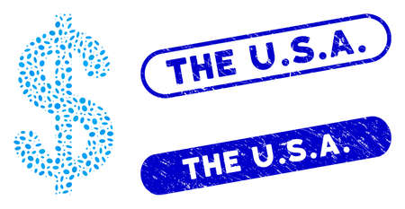 Mosaic dollar and rubber stamp seals with The U.S.A. phrase. Mosaic vector dollar is composed with randomized elliptic spots. The U.S.A. seals use blue color, and have round rectangle shape.