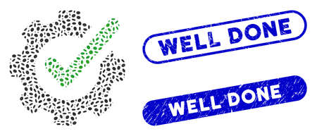 Mosaic checking asistance and corroded stamp watermarks with Well Done phrase. Mosaic vector checking asistance is designed with random ellipse elements. Well Done stamp seals use blue color,