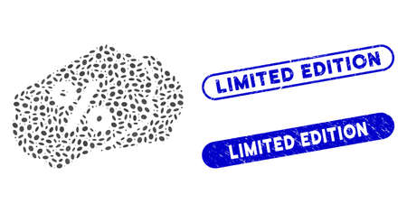 Mosaic discount labels and grunge stamp seals with Limited Edition text. Mosaic vector discount labels is created with random elliptic parts. Limited Edition stamp seals use blue color,
