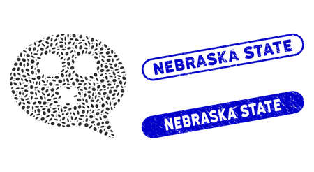 Mosaic mute smiley message and corroded stamp seals with Nebraska State text. Mosaic vector mute smiley message is formed with scattered oval pieces. Nebraska State stamp seals use blue color, Illusztráció