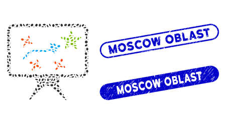 Mosaic strategy and corroded stamp watermarks with Moscow Oblast text. Mosaic vector strategy is composed with scattered oval pieces. Moscow Oblast stamp seals use blue color,