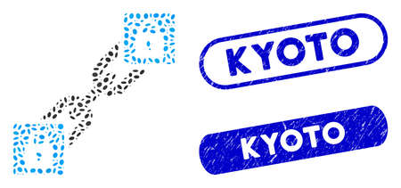 Collage lock blockchain and distressed stamp seals with Kyoto phrase. Mosaic vector lock blockchain is created with randomized ellipse spots. Kyoto stamp seals use blue color, Illusztráció