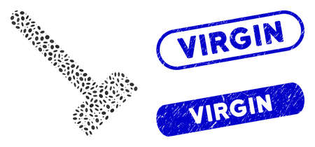 Mosaic broom and rubber stamp watermarks with Virgin text. Mosaic vector broom is designed with scattered oval parts. Virgin stamp seals use blue color, and have round rectangle shape.