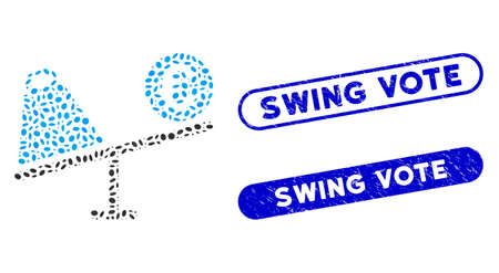 Mosaic Euro trade swing and distressed stamp seals with Swing Vote caption. Mosaic vector Euro trade swing is designed with scattered ellipse items. Swing Vote stamp seals use blue color,