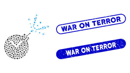 Mosaic time fireworks charge and rubber stamp seals with War on Terror phrase. Mosaic vector time fireworks charge is created with scattered ellipse pieces. War on Terror stamp seals use blue color, Ilustração