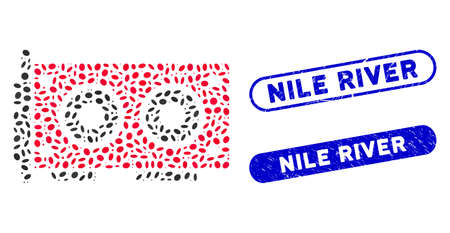Mosaic video graphics card and distressed stamp seals with Nile River text. Mosaic vector video graphics card is formed with random elliptic parts. Nile River stamp seals use blue color, 向量圖像