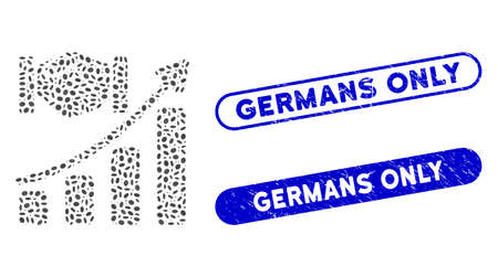 Mosaic acquisition hands growth chart and grunge stamp seals with Germans Only phrase. Mosaic vector acquisition hands growth chart is designed with scattered oval spots.