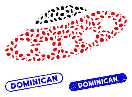 Mosaic alien visitors spaceship and grunge stamp seals with Dominican caption. Mosaic vector alien visitors spaceship is created with scattered elliptic dots. Dominican stamp seals use blue color,
