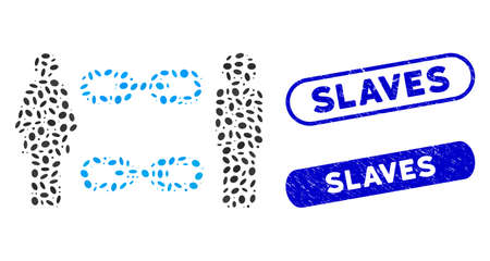 Mosaic family chains and grunge stamp seals with Slaves caption. Mosaic vector family chains is designed with scattered oval items. Slaves stamp seals use blue color, and have round rectangle shape.