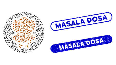Mosaic chicken dish and distressed stamp watermarks with Masala Dosa phrase. Mosaic vector chicken dish is designed with random ellipse spots. Masala Dosa stamp seals use blue color,