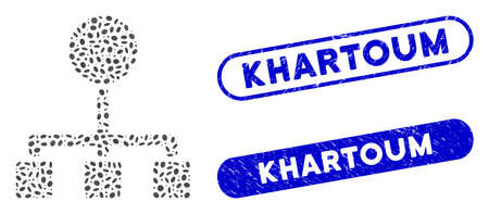 Mosaic hierarchy and rubber stamp watermarks with Khartoum caption. Mosaic vector hierarchy is formed with scattered ellipse items. Khartoum stamp seals use blue color, and have round rectangle shape. Ilustração