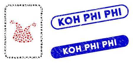 Mosaic joker gambling card and corroded stamp seals with Koh Phi phrase. Mosaic vector joker gambling card is composed with randomized oval dots. Koh Phi stamp seals use blue color, Ilustracja