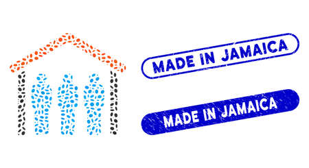 Mosaic people under roof and rubber stamp seals with Made in Jamaica phrase. Mosaic vector people under roof is designed with randomized oval spots. Made in Jamaica stamp seals use blue color,