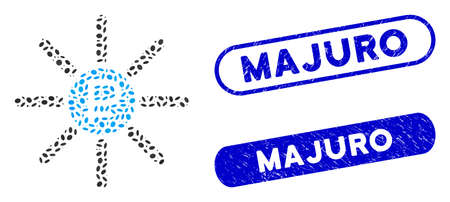 Collage rouble source and corroded stamp seals with Majuro phrase. Mosaic vector rouble source is designed with randomized oval elements. Majuro stamp seals use blue color,