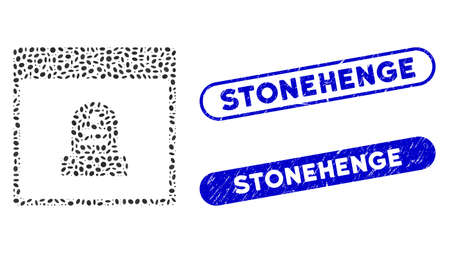 Mosaic memorial tombstone calendar page and grunge stamp seals with Stonehenge caption. Mosaic vector memorial tombstone calendar page is designed with scattered elliptic dots.