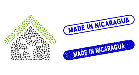 Mosaic plant glasshouse and grunge stamp seals with Made in Nicaragua text. Mosaic vector plant glasshouse is formed with randomized elliptic pieces. Made in Nicaragua stamp seals use blue color,