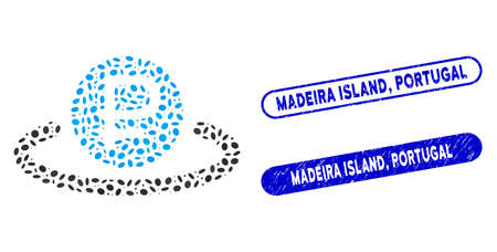 Collage rouble deposit and grunge stamp seals with Madeira Island, Portugal text. Mosaic vector rouble deposit is composed with random ellipse dots. Madeira Island, Ilustracja