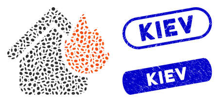 Mosaic home fire disaster and corroded stamp seals with Kiev phrase. Mosaic vector home fire disaster is composed with randomized ellipse pieces. Kiev stamp seals use blue color,