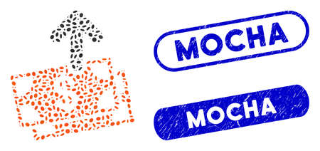 Mosaic spend money and grunge stamp seals with Mocha text. Mosaic vector spend money is formed with random oval elements. Mocha stamp seals use blue color, and have round rectangle shape.